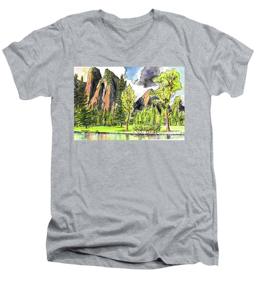 Spring In Yosemite Men's V-Neck T-Shirt by Terry Banderas
