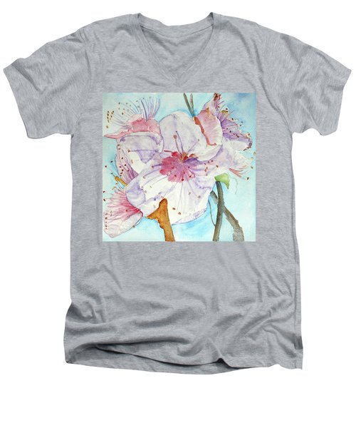 Men's V-Neck T-Shirt featuring the painting Spring by Jasna Dragun