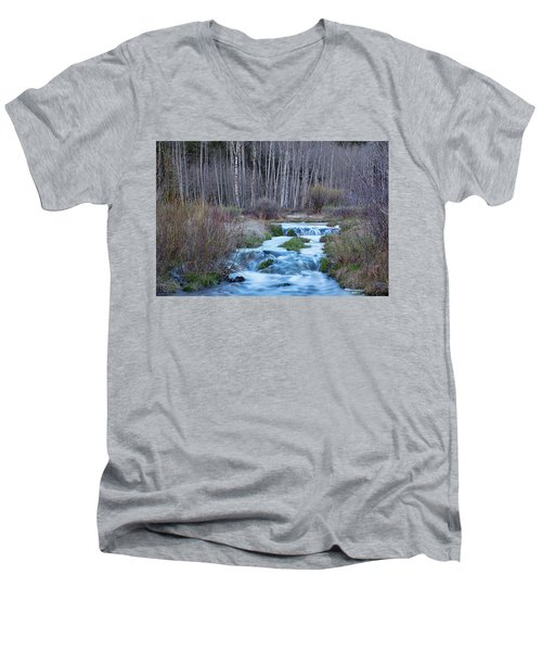 Spring Melt Off Flowing Down From Bonanza Men's V-Neck T-Shirt by James BO Insogna