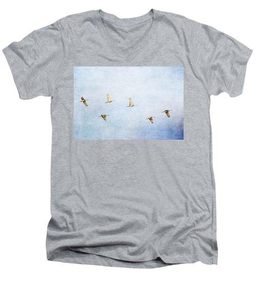Spring Migration 3 - Textured Men's V-Neck T-Shirt