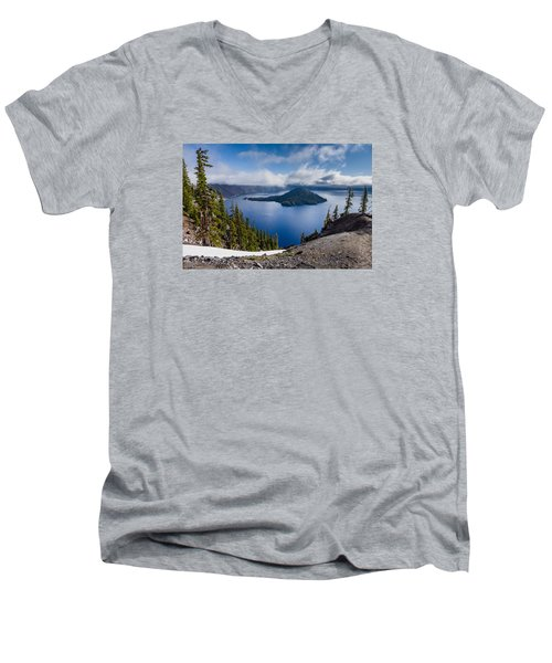 Spring Morning At Discovery Point Men's V-Neck T-Shirt by Greg Nyquist