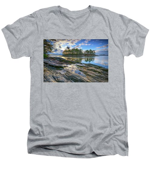 Men's V-Neck T-Shirt featuring the photograph Spring Morning At Wolfe's Neck Woods by Rick Berk