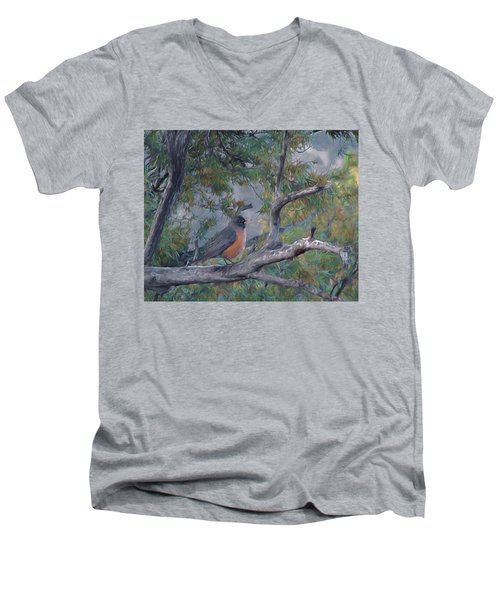 Spring Morning Robin Da Men's V-Neck T-Shirt