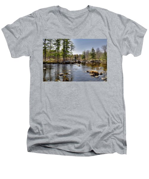 Men's V-Neck T-Shirt featuring the photograph Spring Near Moose River Road by David Patterson