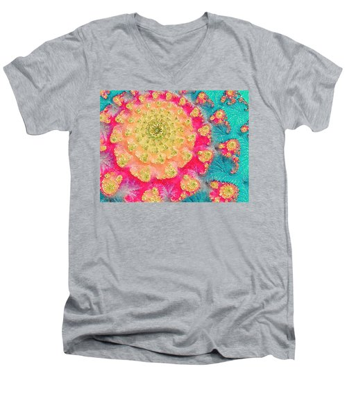 Men's V-Neck T-Shirt featuring the digital art Spring On Parade 2 by Bonnie Bruno