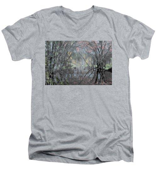 Men's V-Neck T-Shirt featuring the digital art Spring On The Backwater by John Selmer Sr