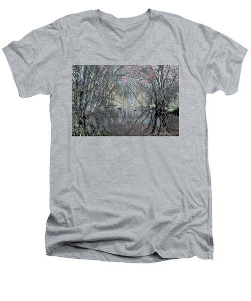 Spring On The Backwater Men's V-Neck T-Shirt