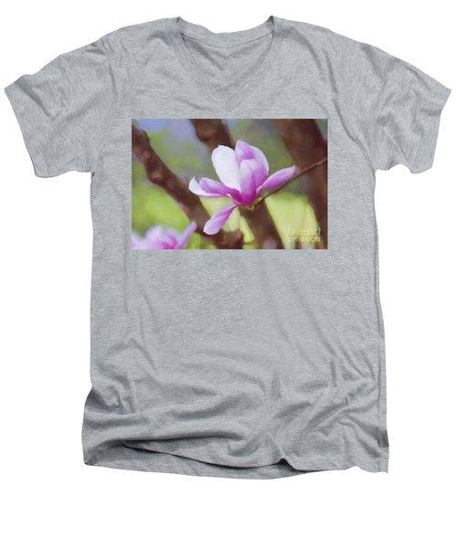 Spring Pink Saucer Magnolia Men's V-Neck T-Shirt