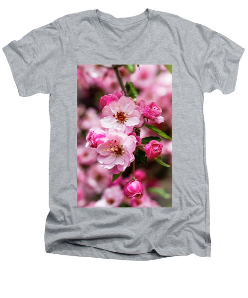Spring Pink Men's V-Neck T-Shirt by Teri Virbickis