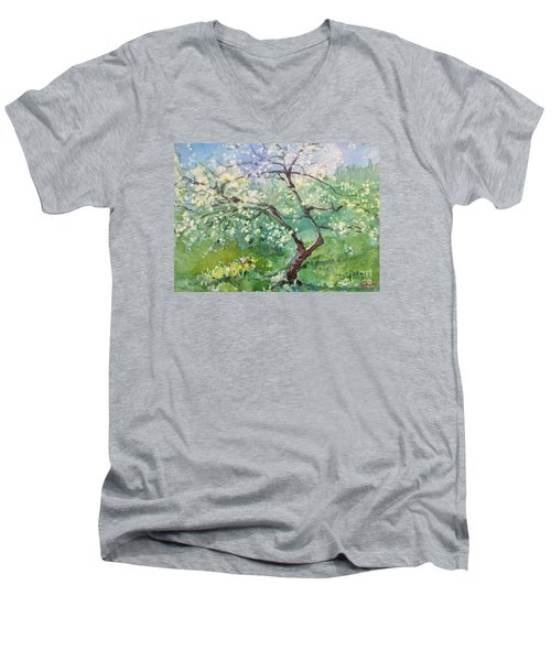 Men's V-Neck T-Shirt featuring the painting Spring Plum by Elizabeth Carr