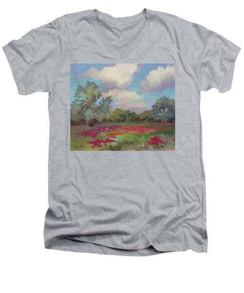 Men's V-Neck T-Shirt featuring the painting Spring Poppies by Diane McClary