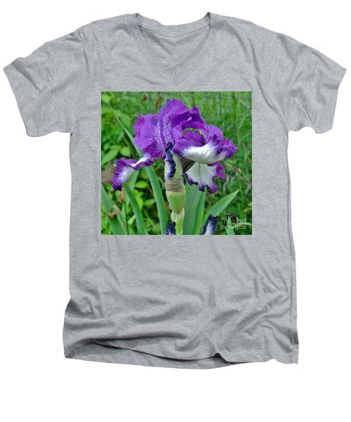 Spring Purple Iris Men's V-Neck T-Shirt by Marsha Heiken