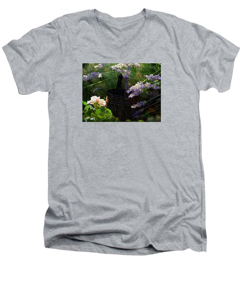 Spring Rain Men's V-Neck T-Shirt by Marika Evanson