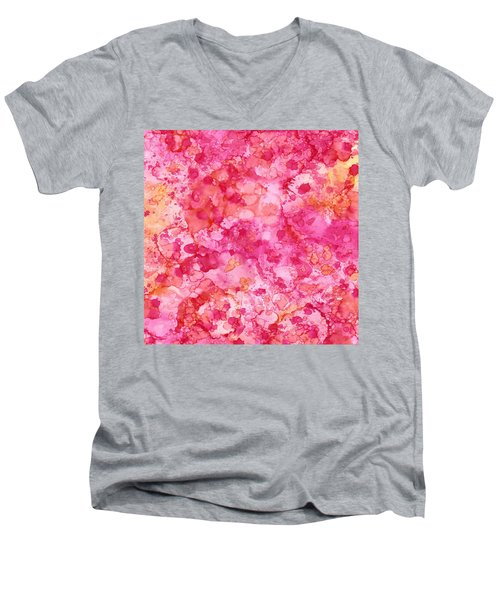 Spring Rose Abstract Men's V-Neck T-Shirt by Patricia Lintner