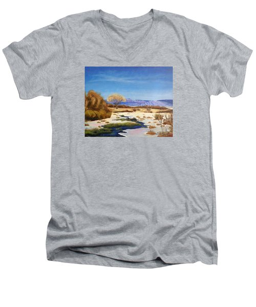 Men's V-Neck T-Shirt featuring the painting Spring Runoff by Sherril Porter