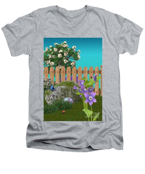 Men's V-Neck T-Shirt featuring the digital art Spring Scene by Mary Machare