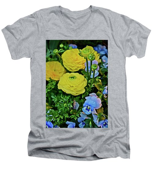 Spring Show 18 Persian Buttercup With Horned Viola Men's V-Neck T-Shirt