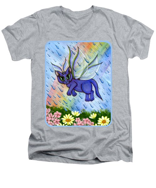 Spring Showers Fairy Cat Men's V-Neck T-Shirt