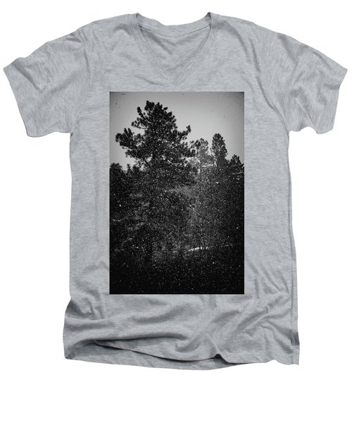 Spring Snowstorm Men's V-Neck T-Shirt by Jason Coward