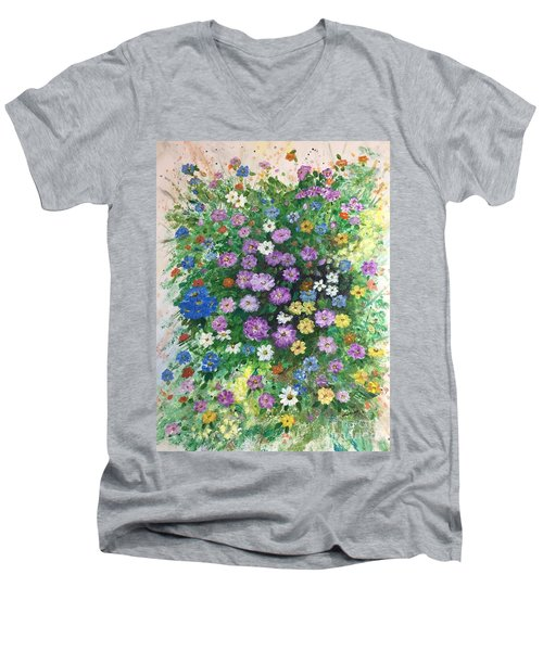 Spring Splendor Men's V-Neck T-Shirt by Lucia Grilletto