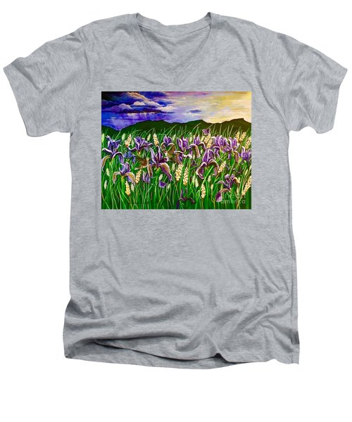 Spring Storm  Iris Fields Men's V-Neck T-Shirt