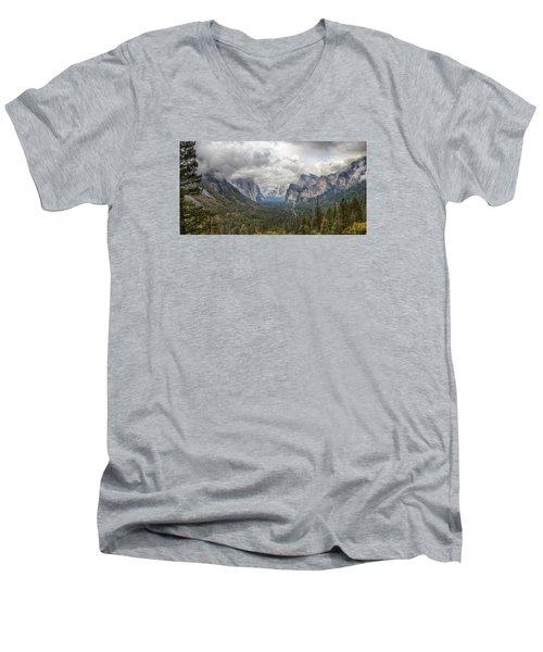 Spring Storm Yosemite Men's V-Neck T-Shirt by Harold Rau