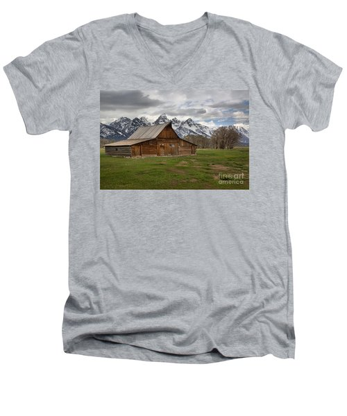 Spring Storms Over The Moulton Barn Men's V-Neck T-Shirt by Adam Jewell