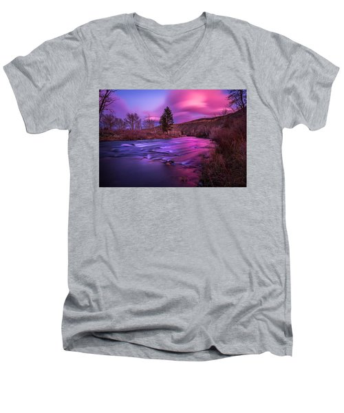 Men's V-Neck T-Shirt featuring the photograph Spring Sunset Along The Truckee River Reno Nevada by Scott McGuire