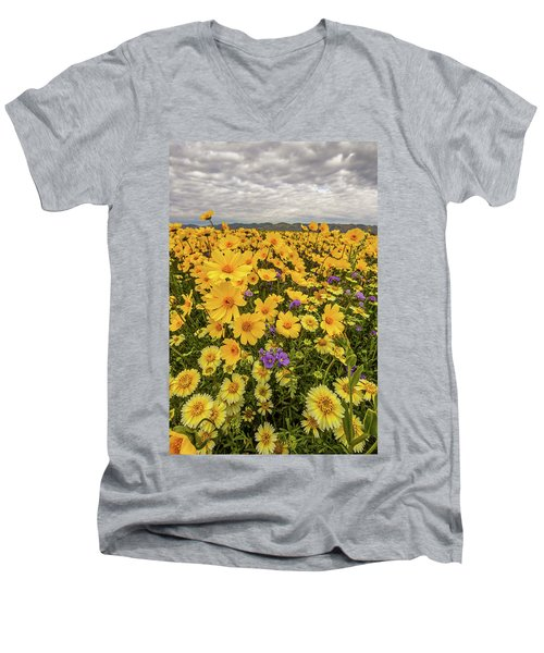 Men's V-Neck T-Shirt featuring the photograph Spring Super Bloom by Peter Tellone