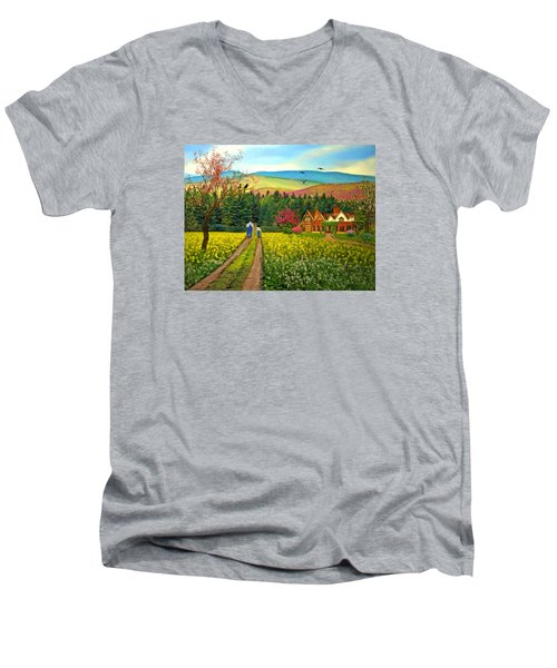 Spring Time In The Mountains Men's V-Neck T-Shirt by Nina Bradica