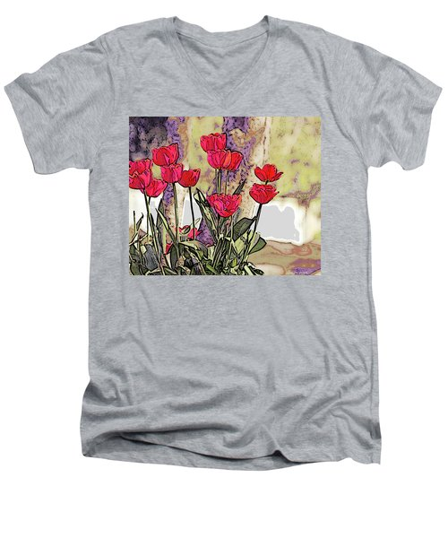 Spring Tulips Men's V-Neck T-Shirt