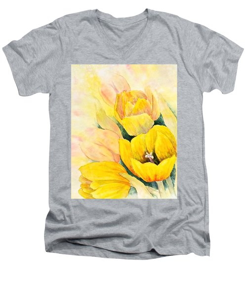 Men's V-Neck T-Shirt featuring the painting Spring Tulips by Carolyn Rosenberger