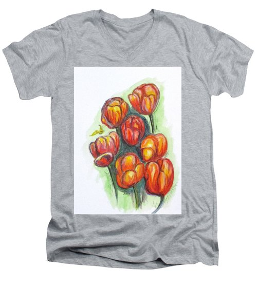 Spring Tulips Men's V-Neck T-Shirt by Clyde J Kell