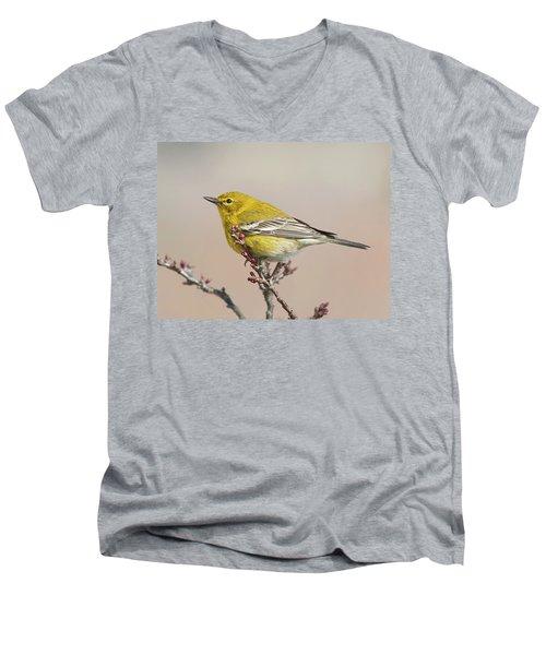 Men's V-Neck T-Shirt featuring the photograph Spring Warbler 1 2017 by Lara Ellis