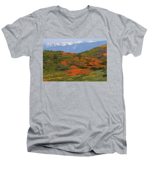 Spring Wildflower Display At Diamond Lake In California Men's V-Neck T-Shirt by Jetson Nguyen