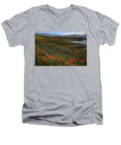 Men's V-Neck T-Shirt featuring the photograph Spring Wildflowers At Diamond Lake In California by Jetson Nguyen