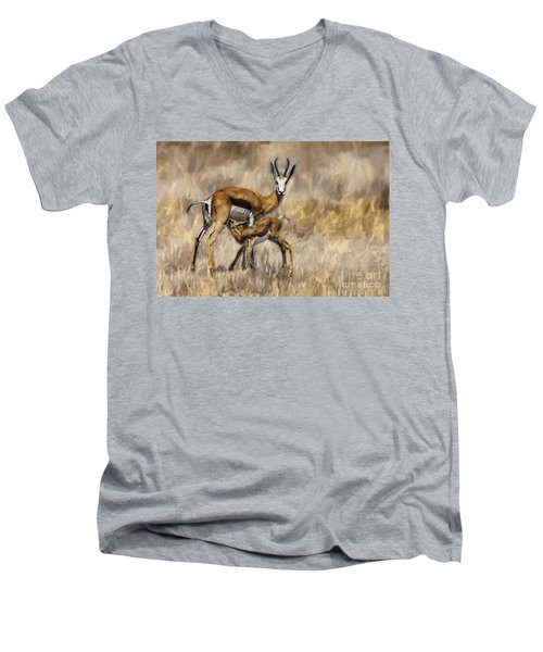 Springbok Mom And Calf Men's V-Neck T-Shirt