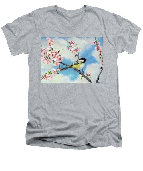 Men's V-Neck T-Shirt featuring the painting Spring's Promise by Donna Tucker