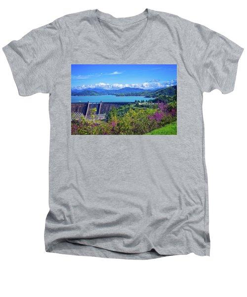Springtime At Shasta Lake Dam Men's V-Neck T-Shirt
