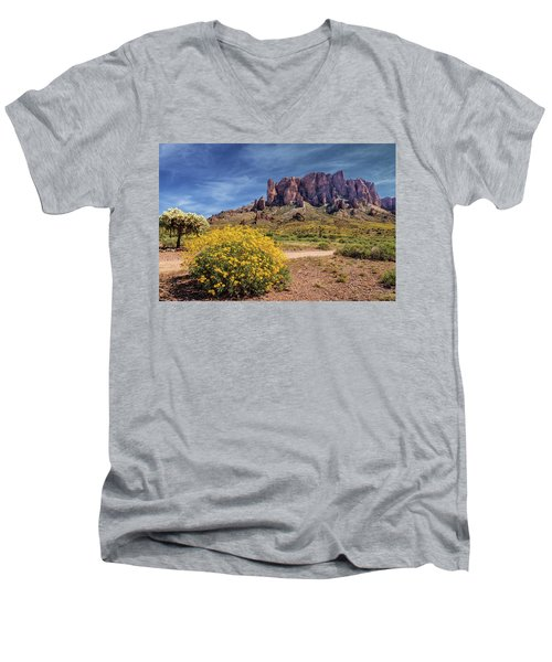 Men's V-Neck T-Shirt featuring the photograph Springtime In The Superstition Mountains by James Eddy
