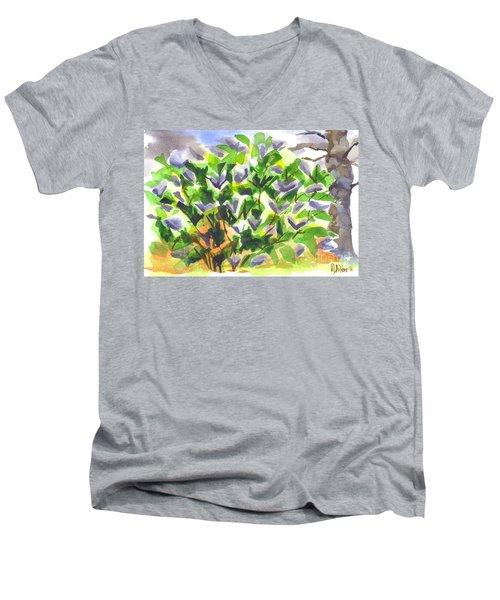 Men's V-Neck T-Shirt featuring the painting Springtime Lilac Abstraction by Kip DeVore