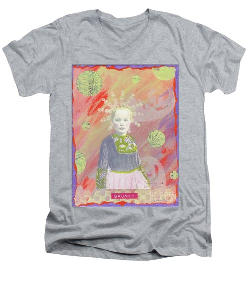 Men's V-Neck T-Shirt featuring the mixed media Spunky Got Funky by Desiree Paquette