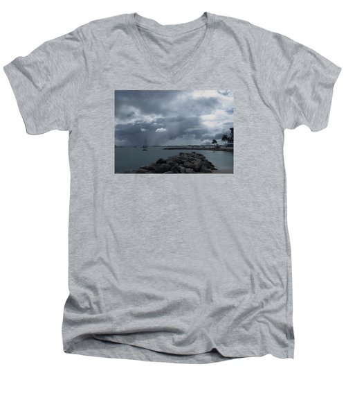 Squall In Simpson Bay St Maarten Men's V-Neck T-Shirt by Christopher Kirby
