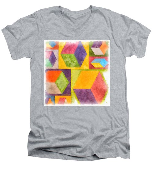 Square Cubes Abstract Men's V-Neck T-Shirt