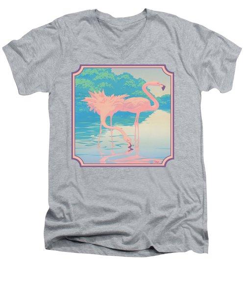 Square Format - Pink Flamingos Retro Pop Art Nouveau Tropical Bird 80s 1980s Florida Painting Print Men's V-Neck T-Shirt by Walt Curlee
