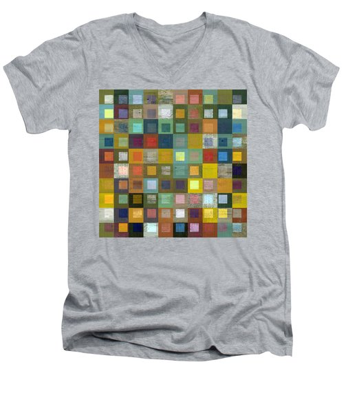 Men's V-Neck T-Shirt featuring the digital art Squares In Squares Five by Michelle Calkins