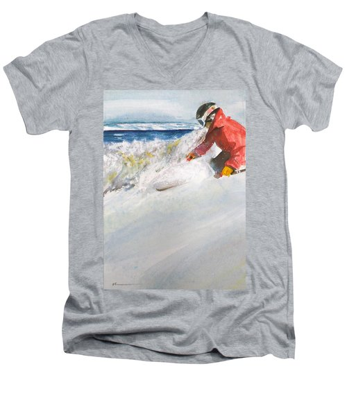Men's V-Neck T-Shirt featuring the painting Beaver Creak by Ed Heaton
