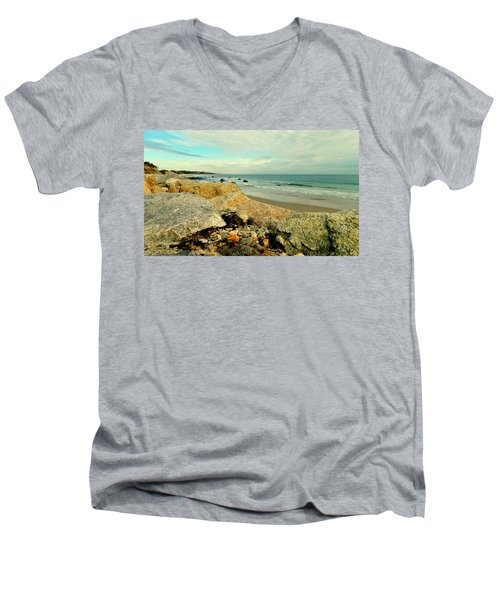 Squibby Cliffs And Mackerel Sky Men's V-Neck T-Shirt