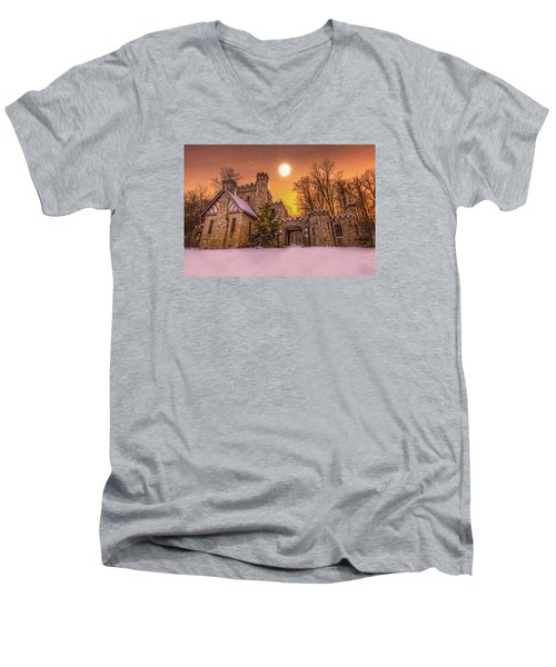 Squires Castle In The Winter Men's V-Neck T-Shirt by Brent Durken