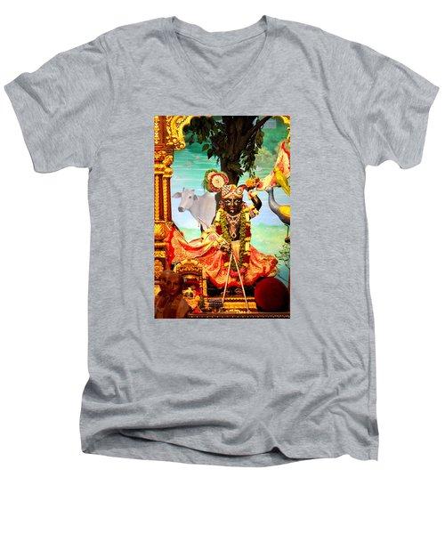 Sri Nath Ji, Radha Gopinath Mandir, Mumbai Men's V-Neck T-Shirt by Jennifer Mazzucco